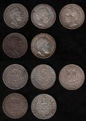 Deutsches Reich. Silbermünzen. 2 Mark / Sammlung von 5 Münzen zu 2 Mark. Vorderseiten: Verschiedene