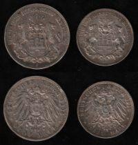 Deutsches Reich. Silbermünze. 5 Mark. Freie und Hansestadt Hamburg. J 1903. Vorderseite: Stadtwappen