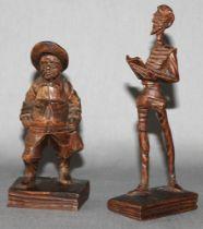 """Holz. Skulptur. """"Don Quichote und Sancho Panza"""". Zwei kleine Holzskulpturen jeweils auf einem schmal"""