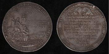 Harz - Zellerfeld. Silber. Tauftaler 1711 (Jahreszahl im Stempel aus 1708 geändert),  Vorderseite: C