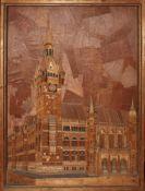 Holz. Skulptur - Holzrelief. Schubert, W. (Braunschweig - Rathaus). Holzrelief aus verschiedenen Hol