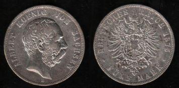 Deutsches Reich. Silbermünze. 5 Mark. Albert, König von Sachsen. E 1875. Vorderseite: Porträt von Kö