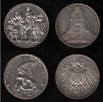 Deutsches Reich. Silbermünze. 3 Mark. Jahrhundertfeier der Befreiungskriege. (A) 1913. Vorderseite: