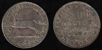 Braunschweig. Silbermünze. 24 Mariengroschen - Leipziger Fuß = 2/3 Thaler 1789. Karl Wilhelm Ferdina