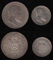 Deutsches Reich. Silbermünze. 5 Mark. Wilhelm II., König von Württemberg. F 1903. Vorderseite: Portr