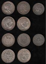 Deutsches Reich. Silbermünzen. 5 und 2 Mark / Sammlung von 2 Münzen zu 5 Mark und 3 Münzen zu 2 Mark