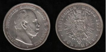Deutsches Reich. Silbermünze. 5 Mark. Wilhelm I., Deutscher Kaiser. C 1876. Vorderseite: Porträt Wil