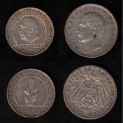 Deutsches Reich. Silbermünze. 3 Mark. Otto, König von Bayern. D 1909. Vorderseite: Porträt König Ott