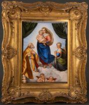 """Rechteckige Porzellan-Plakette """"Sixtinische Madonna"""". Meissen 19. Jh. Exzellent fein bunt bemalt,"""