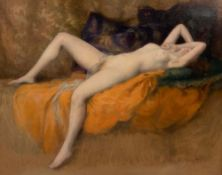 Albert Joseph Pénot (1862-1930). Liegender Frauenakt. Öl/Karton, re./u./sign., gerahmt, 48,5 x 55,