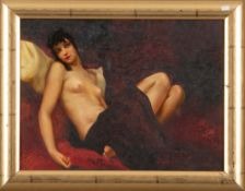 Maler des 20. Jhs. Mädchenakt. Öl/Malkarton, gerahmt, 30 x 40 cm.