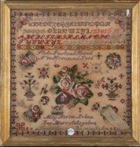 Stickbild des 19. Jhs., gerahmt, 58 x 55 cm. **