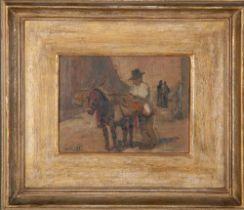 Emil Leonhard Smidt (1878-1954). Apfelsinenhändler von Sevilla. Öl/Holz, li./u./sign./dat. 1929,