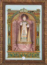 Historismus-Spieluhr. Frankreich 19. Jh. Mit Gipsfigur des Christuskindes, hinter bedrucktem