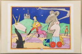 Martin Bradley (geb. 1931). Faun und Roller-Skate Mouses in Landschaft. Farblithographie 8/99, re./