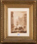 Maler des 18. Jhs. Architekturvedute mit Segelschiffen und Personenstaffage. Lavierte