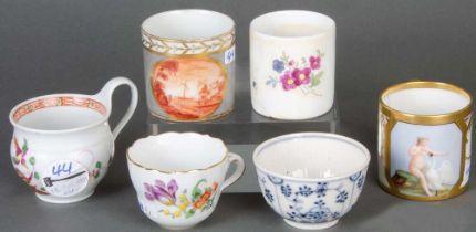 Sechs unterschiedliche Tassen bzw. Koppchen. Ilmenau, Limbach, Meissen und Paris 19. Jh.