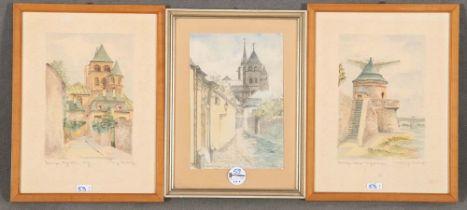 A. O. Heppes / Heinz Umbrich (Maler des 20. Jhs.). Drei Ansichten von Trier. Aquarell bzw.