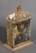 Astronomische Tischuhr. Augsburg. Bronze / Eisen, teilw. vergoldet, durchbrochen, ziseliert und