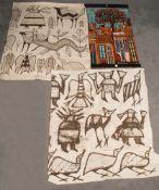 Martin Arregri (Textilwirker des 20. Jhs.). Stoffbild mit einer Architekturansicht, re./u./sign./