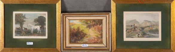 John Romney (1785-1863) u.a. Jagdszene und Pferdeporträt. Zwei colorierte Stahlstiche, hi./Gl./