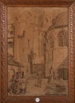 "Gobelin ""Exposition de Bruxelles 1935"", in geschnitztem Eichenrahmen, 70 x 48 cm.**"