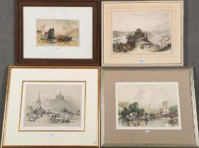"""William Gauci (1825-54) u.a. Vier Ansichten der Moselgegend, u.a. """"Kloster Marienburg"""", """"Near"""