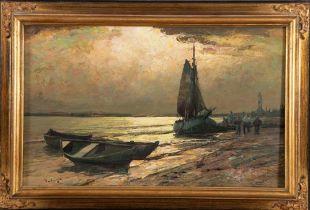 Maler des 20. Jhs. Fischerboot am Strand, li./u. unleserlich sign., gerahmt, 50,5 x 80,5 cm.**