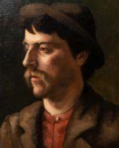 Maler des 19./20. Jhs. Porträt eines jungen Mannes mit Schnauzbart und Hut. Öl/Lw., 30 x 40 cm.