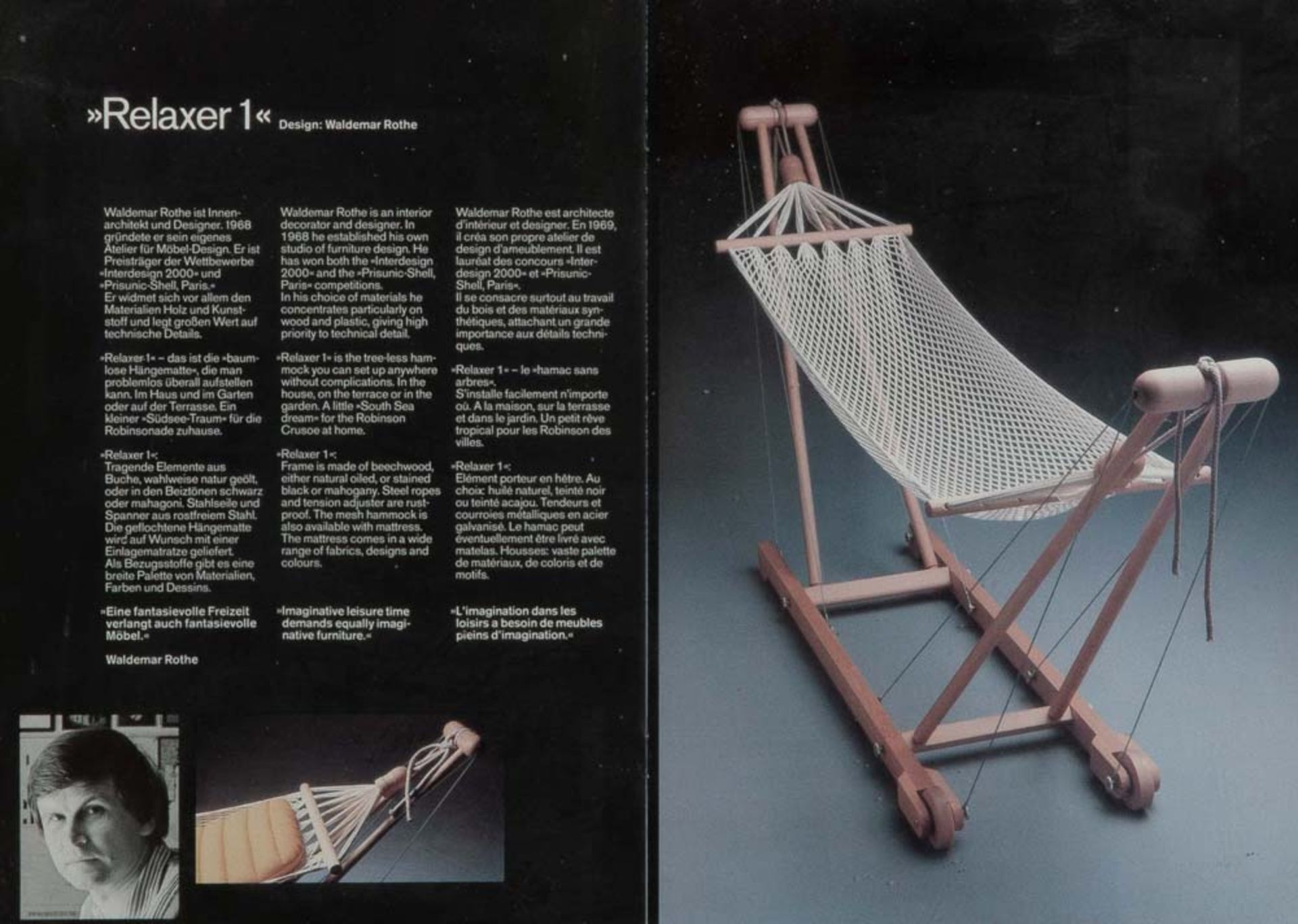 "Waldemar Rothe (1942-2020). Fahrbare Hängematte - ""Relaxer 1"". Massiv Buchengestell, geölt, mit - Image 2 of 2"