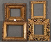 Vier unterschiedliche Rahmen. Massivholz / Stuck, auf Kreidegrund vergoldet, 25,5 x 20,5 bis 50 x 40