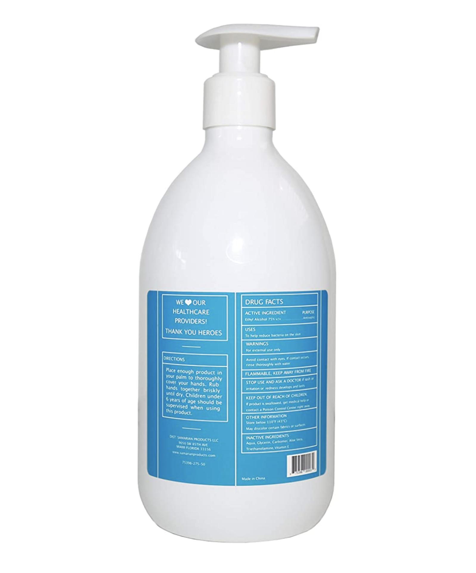 3,250 Bottles of H2One Pump Bottle Hand Sanitizer Gel, 500 ML, 16.9 OZ, 75% Alcohol Based (Ethanol) - Image 4 of 4