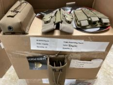 36 Mixed Tactical Gear Lot including: 15 M-BIRT Pouches in Coyote, Blackwater Double (16) and Triple