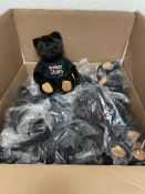 """56 Black Teddy Bear Stuffed Animals in Removable Branded T-Shirt, Approximately 9"""" Tall"""