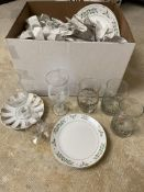 Box of Vintage Wine Glasses, Plates and Glasses 25+ Pieces Unsorted
