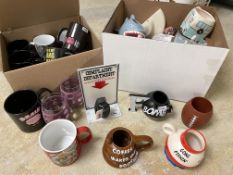 2 Boxes of 30+ New Novelty Mugs, Toys Ornaments and Display items