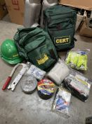 2x CERT Community Emergency Response Team Backpacks with emergency essentials and hard hats