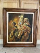 "I AMARO Native American Art Painting Framed 32x28"" LT1"