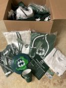 Huge Box of Mixed Poker Merchandise Branded. Shirts, Hoodies, Mousepads, Poker Chips, Cards, Etc