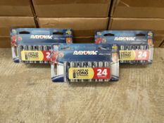 490 x 24-Packs of AA Rayovac Battery Retail Ready Packs (Total of approximately 11,520 batteries)