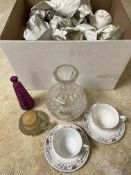 Box of Vintage Glass Vases and China 15+ Pieces unsorted