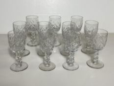 Set of 11 Crystal Glasses, Port Wine Dessert Stemware BXB