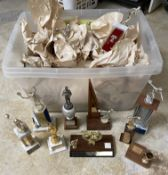 25+ Vintage Statue Trophies dating back to the 1960s, Various Subjects and styles