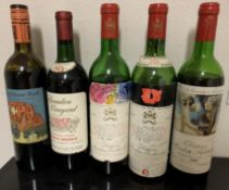 5 HIGHLY COLLECTIBLE FAMOUS VINTAGE FRENCH WINE BOTTLES ( NOT FOR CONSUMPTION )