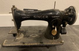 ANTIQUE SINGER SEWING MACHINE BLACK AND GOLD, VERY RARE