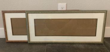 """31x14"""" VINTAGE CARVED WOOD GREEN + BURGUNDY MATTED FRAMES"""