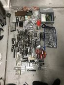 LOT OF ASSORTED TOOLING, DRILL HEADS, MISC DRILLING BORING TOOLS