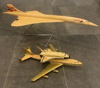 British Airways Concorde + Space Shuttle Jet Model On Stand Rare Vintage
