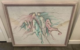 """VERY LARGE VINTAGE PASTEL COLORS PAINTING WILD HORSES RUNNING, 54"""" x 42"""""""