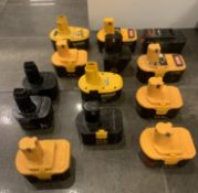 LOT OF DEWALT AND RYOBI BATTERIES FOR ELECTRIC TOOLS